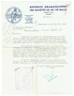 Entente Brabançonne Des Sociétés De Jeu De Balle. Schaerbeek. 1937. - Belgien