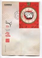 AÑO DEL CERDO 2019, YEAR OF THE PIG, ANNÉE DU PORC -  ARGENTINA 2019 FDC SOBRE DIA DE EMISION CON BLOQUE BLOC -LILHU - Chinese New Year