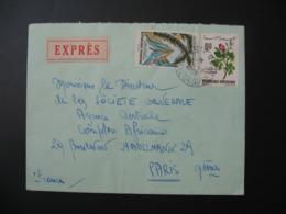 Lettre Thème Fleur  Rose Palmier Montagne Tunisie   1969   Pour La Sté Générale En France Bd Haussmann Paris - Tunisia (1956-...)