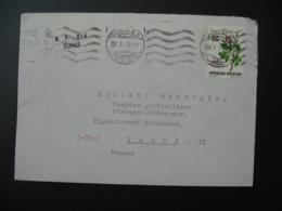 Lettre Thème Fleur Rose Tunisie  1973   Pour La Sté Générale En France Bd Haussmann Paris - Tunisia (1956-...)