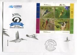 100 AÑOS DE AVES ARGENTINAS, PICAFLOR. OISEAUX, BIRDS -  ARGENTINA 2016 FDC SOBRE DIA DE EMISION CON BLOQUE BLOC -LILHU - FDC