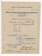 ^ PARTIGIANI BUONO DI PRELEVAMENTO ESSENZE CAMICIE NERE NOVARA MILIZIA VOLONTARIA PER LA SICUREZZA NAZIONALE M.V.S.N 2a - Documenti Storici