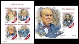 Niger 2019, Massonery, Churchill, Berlusconi, Boxing, 4val In BF +BF IMPERFORATED - Sir Winston Churchill