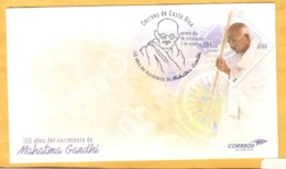 COSTA RICA 150 YEARS BIRTH Of MAHATMA GANDHI PREPAID COVER 2019 Plus Boletin - Costa Rica