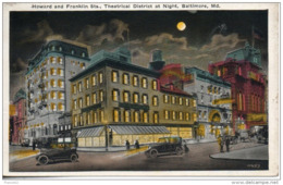 Etats Unis. Baltimore. Howard And Franklin Sts, Theatrical District At Night - Baltimore
