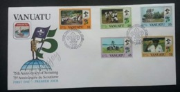 Vanuatu 75th Anniversary Of Scouting 1982 Jamboree Scout (stamp FDC) - Vanuatu (1980-...)
