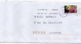 """2019-- Tp  Adhésif  """" Fleurs--Eclosion --  """"  Seul Sur Lettre-  Cachet Rond + Portion Mécanique - Poststempel (Briefe)"""