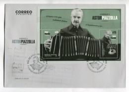 ASTOR PIAZZOLLA, HOMENAJE. TANGO MUSICO, MUSIC - ARGENTINA 2018 FDC SOBRE DIA DE EMISION CON BLOQUE BLOC -LILHU - Music