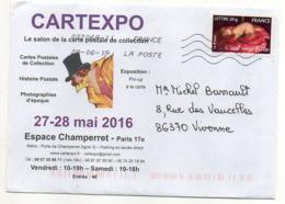 """2019-- Tp  Adhésif  """" C'est Une Fille   """"  Seul Sur Lettre Illustrée  """" Cartexpo """"-  Cachet Toshiba - Marcophilie (Lettres)"""