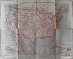 Carte Routière Etats-Unis D'Amèrique Et Leur Population 47 X 60 Cm - Roadmaps