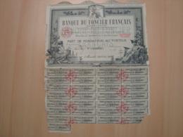 ACTION BANQUE DU FONCIER FRANCAIS 1920 - Banco & Caja De Ahorros