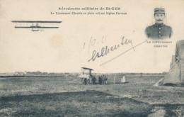 """Lieutenant CHEUTIN Pionnier Aviation - Signature AUTOGRAPHE - CP """" Aérodrome Militaire St-Cyr En Plein Vol Su Farman - Aviation"""