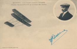 """Aviateur M. GUILLAUX  - Signature AUTOGRAPHE Sur CP """" LE CROTOY Ecole Aviation CAUDRON L'aviateur Sur Son Oiseau Bleu """" - Flieger"""