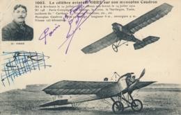 """Aviateur M. OBRE- Signature AUTOGRAPHE Sur CP """" Le Célèbre Aviateur Sur Son Monoplan CAUDRON """" - Aviateurs"""