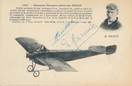 """Aviateur De MARMIER -  Signature AUTOGRAPHE Sur CP """" Monoplan Nieuport Piloté Par HELEN """" - Flieger"""