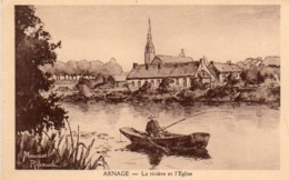 CP 72 Sarthe Arnage Rivière Et L'église Maurice Ribaud - Other Municipalities