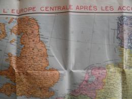 Carte Routière Europe Centrale Après Les Accords De Munnich Et Vienne (pub De Sirop Delabarre) 75 X 105 Cm - Roadmaps