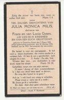 Doodsprentje Julia Monica MILIS Dochtertje Gysen Oosterloo-Gheel 1924 - 1932 - Kind - Devotion Images