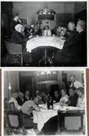 2 Amusantes Photos Originales Portrait De Famille & Grimaces Au Premier Plan & La Famille Qui Porte Un Toast En 1934 - Anonymous Persons