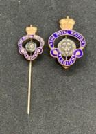 Royal British Legion RBL. Deux Epinglettes De Membre Avec Couronne De La Reine - Army & War