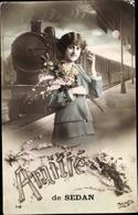 Cp Sedan Ardennes, Frau Auf Dem Bahnsteig, Bahnhof, Gleisseite, Dampflok - Cartoline