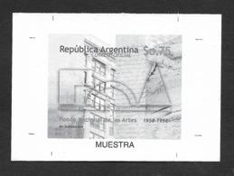 Argentine Argerntina 1998 Prueba Muestra Fondo Nacional De Las Artes Proof Black Print - Argentine