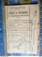 CARTE DE RATIONNEMENT 1942 VETEMENTS CHAUSSURES SAINT GERMAIN DE COULAMER MAYENNE - Documents