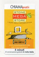 """Scheda Telefonica """" Chiama Gratis """"  Stone Mega Store - 5 Minuti - Nuova - Scadenza 30.6.2002 - (FDC17567) - Italien"""