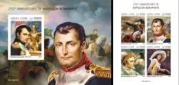 Sierra Leone 2019, Napoleone, 4val In BF +BF IMPERFORATED - Napoleon