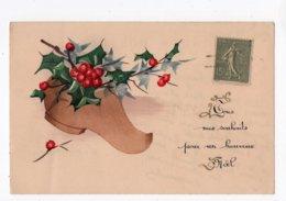 212 - HEUREUX NOËL - Sabot Rempli De Houx   *peint à La Main* - Noël