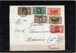 LCTN57/2 - ITALIE AFFR.T MIXTE PERSONAGGI ET GARIBALDI UDINE / MARENNES 16/4/1932 FERME LETTRE GARIBALDI - 1900-44 Vittorio Emanuele III