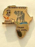 PIN'S  ELEPHANT - LION'S CLUB - COTE D'IVOIRE - Animaux