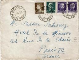 LCTN57/2 - ITALIE AFFR.T MIXTE IMPERIALE LETTRE NAPOLI HOTEL TERMINUS / PARIS 2/4/1932 - Storia Postale