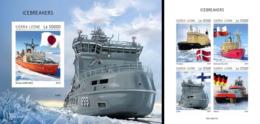 Sierra Leone 2019, Ships, Icebreaker, 4val In BF +BF IMPERFORATED - Polar Ships & Icebreakers