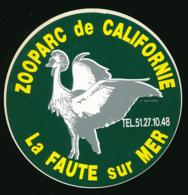 AUTOCOLLANT, STICKERS : LA FAUTE-SUR-MER (Vendée), Zooparc De Californie - Stickers