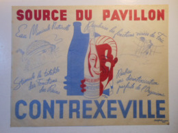 TGP001 / SOURCES DU PAVILLON - EAU MINERALE - CONTREXEVILLE - Vieux Set De Table En Papier Sulfurisé Signé D'après Bon - Publicités