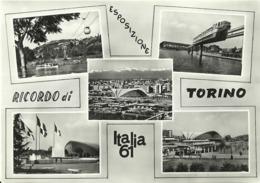 """5574 """"RICORDO DI TORINO-ESPOSIZIONE ITALIA 61""""5 VEDUTE- CART. POS.  NON SPED. - Exhibitions"""