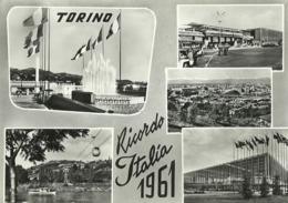 "5575 ""TORINO-RICORDO ITALIA 61""5 VEDUTE- CART. POS.  NON SPED. - Exhibitions"