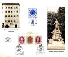 =Wolfgang Amadeus Mozart Encart Perforé Double 1er Jour Paris 9.4.91 N°2695 Et Bloc Vienne 22.3.91 - Frankrijk