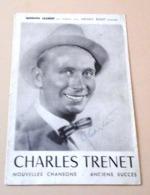 Programme Récital Charles Trenet Avec Autographe Du Chanteur Sur La Première Page,Référence De Ses Disques Columbia - Autographes