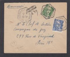 """LETTRE RECOMMANDÉE DE """"ARNIERES SANATORIUM"""" AVEC CACHET DE FORTUNE POUR PARIS,1945. - Frankreich"""