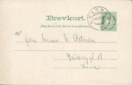 Norway Postal Stationery Ganzsache Entier 5 Øre Posthorn SKARNES Sør-Odal I Hedmark 1910 (2 Scans) - Ganzsachen