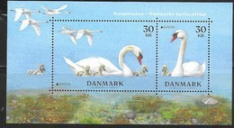 DENMARK , 2019, MNH,EUROPA, BIRDS, SWANS , SHEETLET - 2019