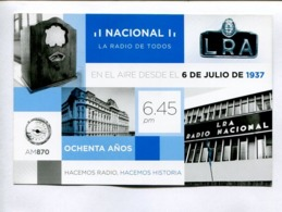 NACIONAL, LA RADIO DE TODOS, OCHENTA AÑOS. ARGENTINA 2017 FDC ENTIER ENTERO -LILHU - Ganzsachen