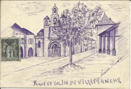 RARE ... Place Et Eglise De VILLEFRANCHE DU PERIGORD , Dessin Signé: Louise DORIAC , 1903 - France