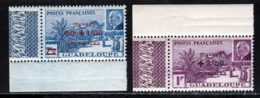 Guadeloupe 1944 Yvert 173 / 174 ** TB Coin De Feuille - Unused Stamps