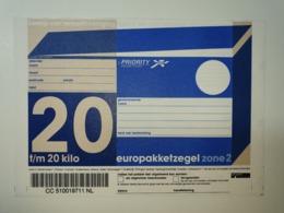 Netherlands Europakketzegel Upto 20 Kg, Not Used  Zone 2  Euro Pakketzegel - Ganzsachen
