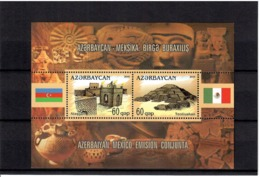 Azerbaijan 2010 . Azerbaijan-Mexico Joint Issue(Architecture,Flags). S/S Of 2v X 60q . Michel # BL 96 - Azerbaiján
