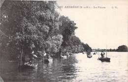 PECHEURS A LA LIGNE - 78 - ANDRESY : La Pêche ( En Barque ) CPA - Yvelines - Pêche