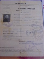 Ministère De La Guerre-LAISSEZ-PASSER > Beausoleil à Peillon (06) En Fév.1945-Cachets Contrôle Militaire FR & US - Documenten